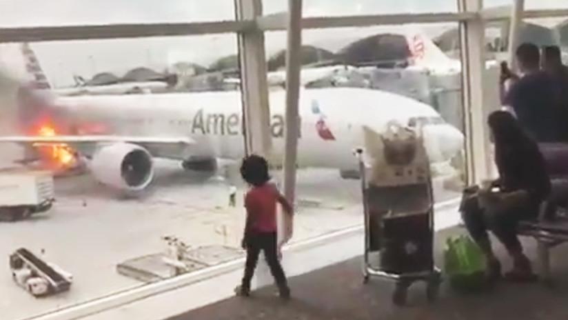 VIDEO: El contenedor de carga de un avión de American Airlines se incendia en Hong Kong