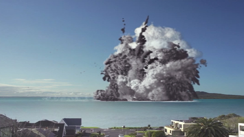 VIDEO: 'Erupción' de un volcán submarino 'destruye' la ciudad más poblada de Nueva Zelanda