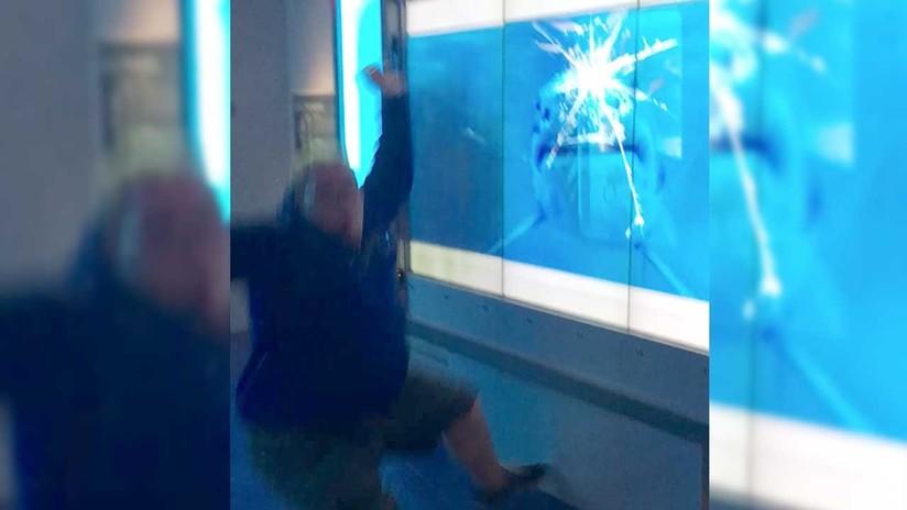 Broma infartante: Un hombre casi es devorado por un 'tiburón' tras ignorar un cartel de peligro