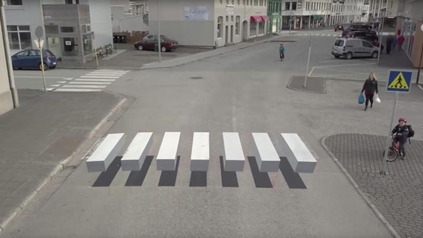 Inusual paso de cebra sorprende a los peatones en Islandia (+ Video)