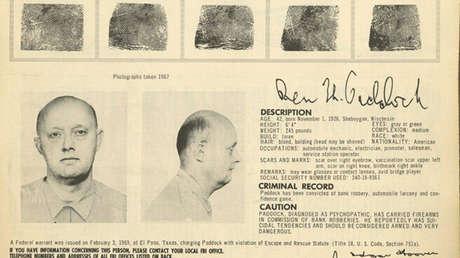 Benjamin Hoskins Paddock fue un ladrón de bancos que escapó de la prisión y estaba en la lista de los más buscados del FBI.
