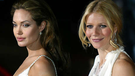 Angelina Jolie y Gwyneth Paltrow en un evento en Hollywood en el año 2004.