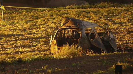 El vehículo explotado de la periodista Daphne Caruana Galizia. Bidnija, Malta, 16 de octubre de 2017.