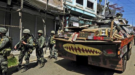 Tropas gubernamentales en las calles de Marawi, el 30 de agosto de 2017.