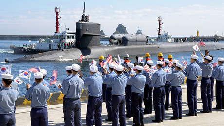 El submarino USS Michigan atraca en el puerto de Busan (Corea del Sur) el 13 de octubre de 2017.