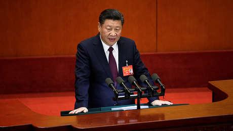 El presidente chino, Xi Jinping, pronuncia un discurso durante la apertura del 19.° Congreso Nacional del Partido Comunista de China en Pekín, el 18 de octubre de 2017.