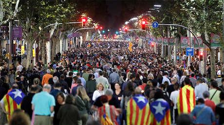 Manifestación en Barcelona contra el encarcelamiento de líderes independentistas, el 17 de octubre de 2017.