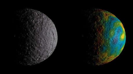 La representación de la NASA del oceano en Ceres