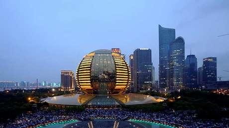 Distrito comercial central de la ciudad china de Hangzhou, en la provincia de Zhejiang.