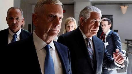 El secretario de Estado estadounidense, Rex Tillerson, y el secretario de Defensa, James Mattis.