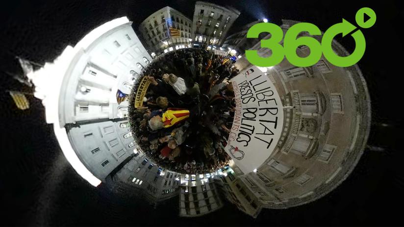 """Manifestación en Barcelona por la libertad de los """"presos políticos"""" en 360º"""