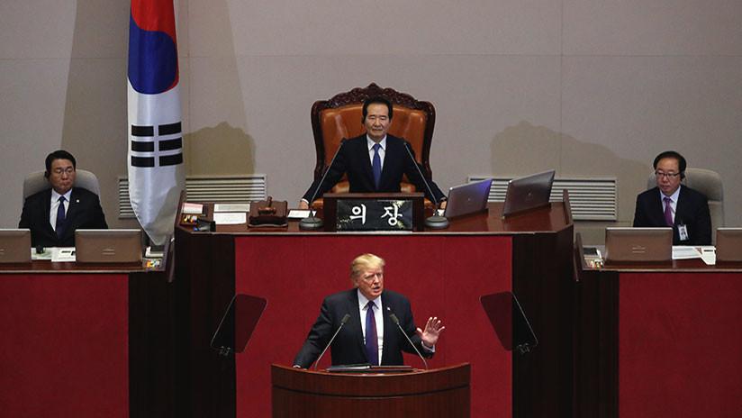 """""""No nos pongan a prueba"""": Trump advierte a Pionyang desde Corea del Sur"""