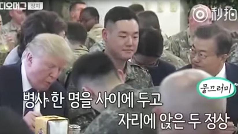 Le dîner le plus inconfortable au monde: la scène hilarante d'un soldat sud-coréen avec Trump (VIDEO)