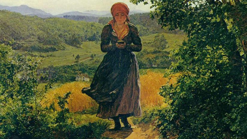 Hallan un 'iPhone' en un cuadro del siglo XIX