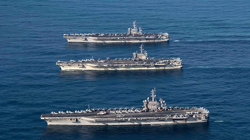 Pionyang: Los tres portaviones de EE.UU. cerca de Corea del Norte son una amenaza de guerra nuclear