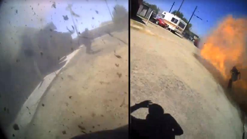 VIDEO: Graban el momento en que un policía queda en medio de una explosión en EE.UU.