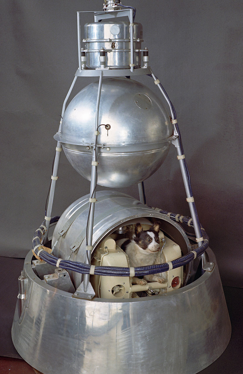 El satélite soviético Sputnik-2 con la perra Laika.