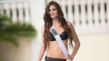 Miss Perú 2014 participa en el desfile Miss Universo en Doral (Florida, EE.UU.), el 14 de enero de 2015.
