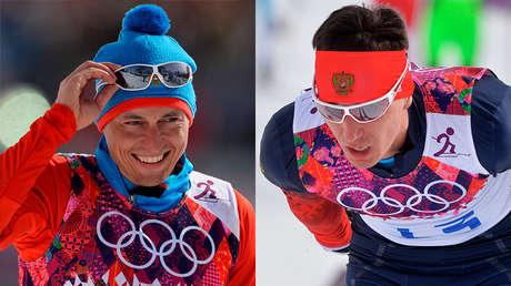 Alexander Legkov y Evgueni Belov en los Juegos Olímpicos de Sochi 2014.