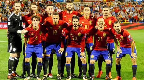 Jugadores de la selección española en un partido contra Albania, 6 de octubre de 2017.