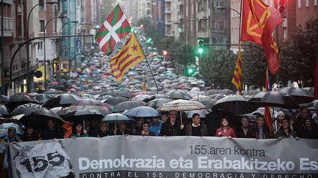 Manifestación contra la aplicación del artículo 155, Bilbao, España, el 4 de noviembre de 2017.