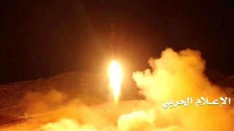 Captura de pantalla de un video de Al Masirah del lanzamiento desde Yemen, difundido el 5 de noviembre.