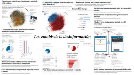 Capturas de pantalla de los titulares y gráficos difundidos por El País en las últimas semanas