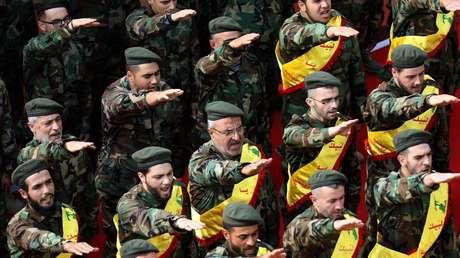Miembros del movimiento chiita Hezbolá. Líbano.