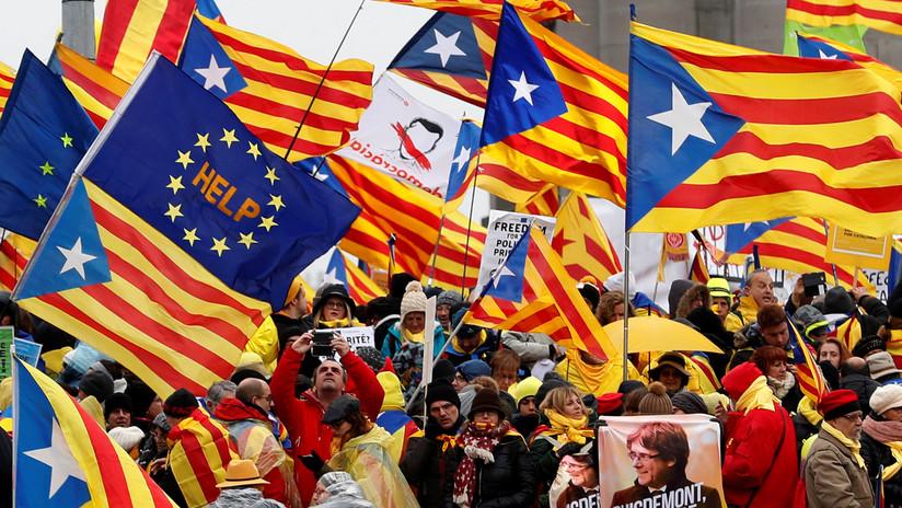 FOTOS: 45.000 catalanes marchan en Bruselas en el único acto de campaña conjunto del independentismo