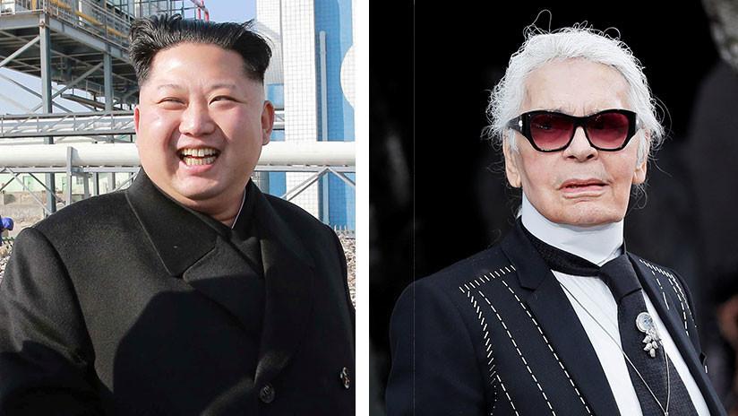 Foto: El diseñador de moda Karl Lagerfeld dibuja una caricatura de Kim Jong-un