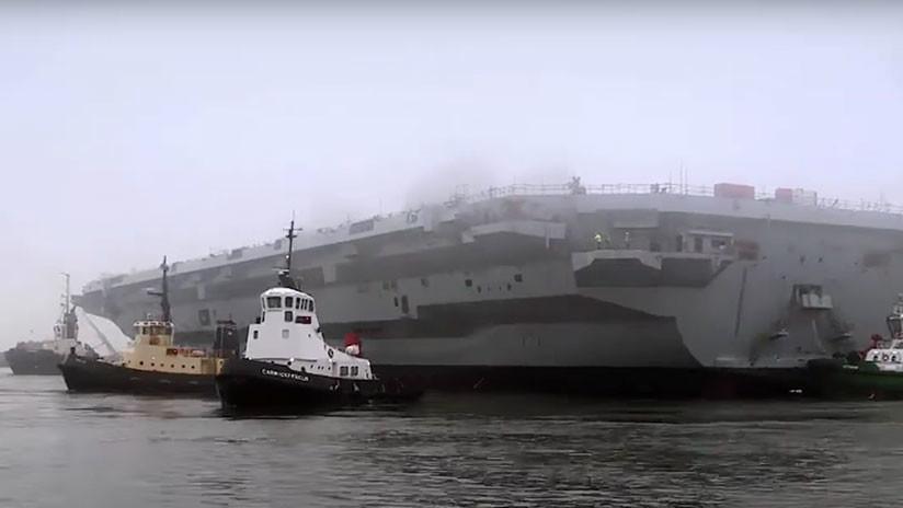 Publican el video de una fuga en el nuevo portaviones británico de 4.000 millones de dólares
