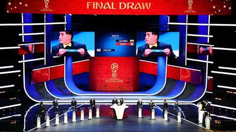 El escenario del sorteo final de la Copa Mundial de la FIFA 2018™. Moscú, Rusia, el 30 de noviembre de 2017.