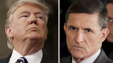 El presidente Donald Trump, el exasesor Michael Flynn y el director del FBI, James Comey.