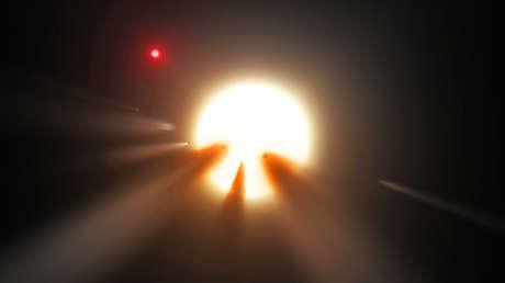 Ilustración de una estrella detrás de un cometa quebrado.