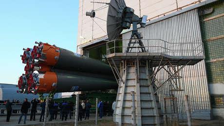 Los motores de un cohete portador Soyuz