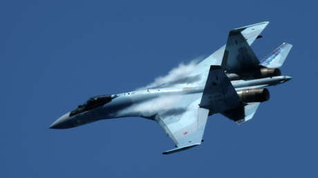 Un caza Su-35 de la Fuerza Aérea de Rusia.