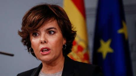 La vicepresidenta española, Soraya Saenz de Santamaría, en el Palacio de la Moncloa. Madrid, 16 de Octubre.
