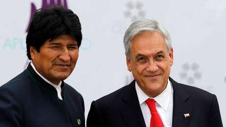Los presidentes de Bolivia y Chile, Evo Morales y Sebastián Piñera.