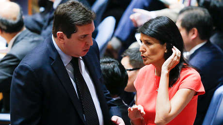 El representante adjunto ruso Vladímir Safrónkov junto a la embajadora de EE.UU,  Nikki Haley