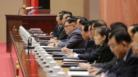 El líder norcoreano, Kim Jong-un, en una reunión del gobernante Partido de los Trabajadores de Corea del Norte.