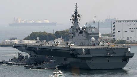 El portahelicópteros de la Fuerza de Autodefensa Marítima de Japón, Izumo, en su base de Yokosuka, en la prefectura de Kanagawa, el 1 de mayo de 2017.