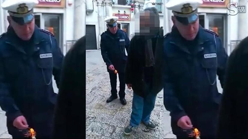 VIDEO INDIGNANTE: Un policía italiano lanza un petardo a los pies de un anciano discapacitado