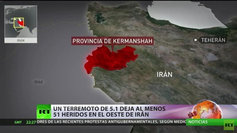 Un terremoto de magnitud 5,1 deja al menos 51 heridos en el oeste de Irán