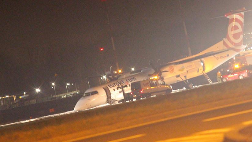 FOTO: Un avión comercial arrastra su morro durante un aterrizaje de emergencia en Varsovia