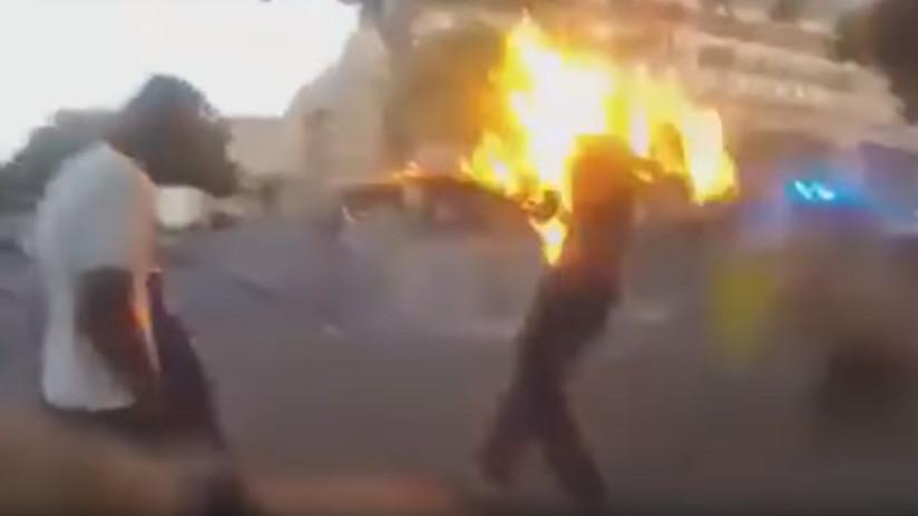"""""""Voy a morir"""": Un hombre arde en llamas tras ser gaseado y electrocutado con una táser en Francia"""