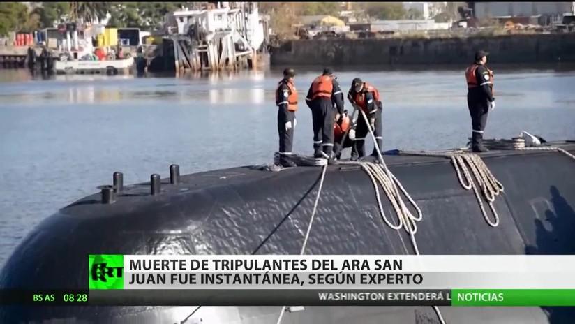 La muerte de los tripulantes del ARA San Juan fue instantánea, asegura un experto