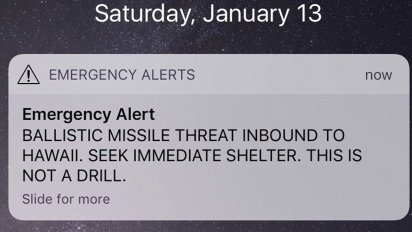 Falsa alerta en Hawái sobre la llegada inminente de un misil balístico