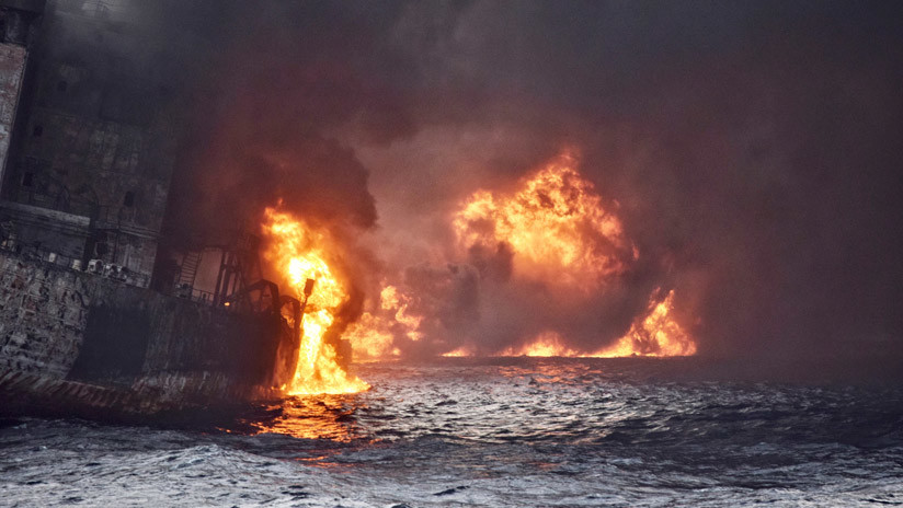 VIDEO SINIESTRO: El derrame del petrolero iraní se extiende por el mar de la China Oriental