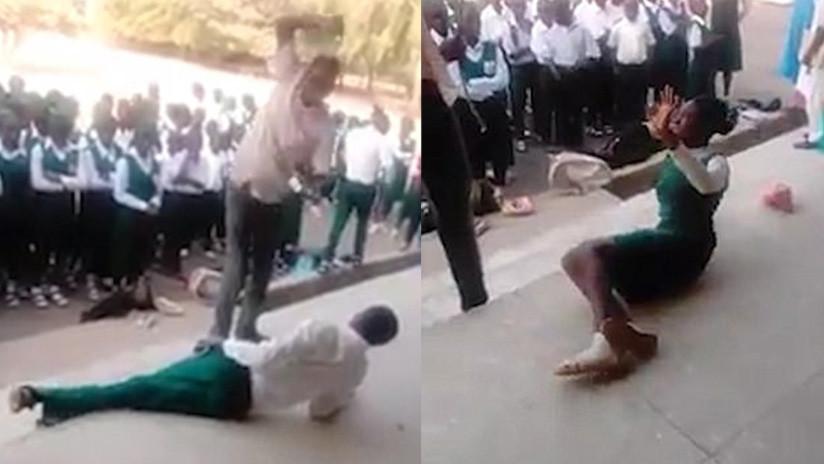FUERTE VIDEO: Un maestro azota en público a sus estudiantes por no asistir a clases