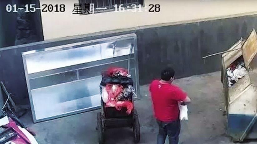 VIDEO: Cámaras de seguridad graban a un hombre tirando a su bebé a un contenedor de basura
